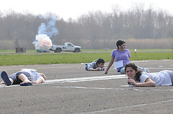 Tweed New Haven Regional Airport Triennial Disaster Drill Exercise  | 26 April 2011 #HVN Students as the imperative plane explosion simulation happens.