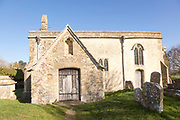 Building exterior of historic church of Saint John, Inglesham, Wiltshire, England, UK 13th century