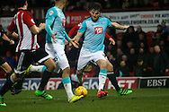 Chris Martin of Derby shoots and scores  the 3rd goal Skybet football league championship match, Brentford  v Derby county at Griffin Park in London on Saturday 20th February 2016.<br /> pic by Steffan Bowen, Andrew Orchard sports photography.