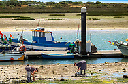 Two women havesting clams in Tavira, Portugal
