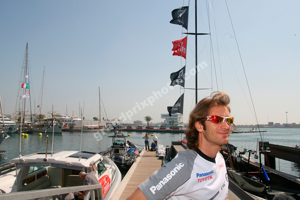 Toyota driver Jarno Trulli in Valencia on May 15 2006 for a qualifying race for the America´s Cup. Photo: Grand Prix Photo