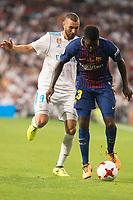 Real Madrid's Karim Benzema and FC Barcelona's Samuel Umtiti during Supercup of Spain 2nd match at Santiago Bernabeu Stadium in Madrid, Spain August 16, 2017. (ALTERPHOTOS/Borja B.Hojas)