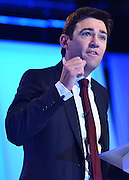 © Licensed to London News Pictures. 03/10/2012. Manchester, UK Andy Burnham, Shadow Health Secretary, delivers his conference speech on Day 4 at The Labour Party Conference at Manchester Central today 3rd october 2012. Photo credit : Stephen Simpson/LNP