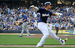 September 23, 2017 - Milwaukee, WI, USA - Chicago Cubs relief pitcher Wade Davis (71) stands by after giving up a solo homer to Milwaukee Brewers hitter Orlando Arcia (foreground) in the ninth inning on Saturday, Sept. 23, 2017 at Miller Park in Milwaukee, Wis. (Credit Image: © Chris Sweda/TNS via ZUMA Wire)
