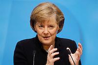 23 JAN 2006, BERLIN/GERMANY:<br /> Angela Merkel, CDU Bundesvorsitzende und Bundeskanzlerin, waehrend einer Pressekonferenz, Konrad-Adenauer-Haus<br /> Angela Merkel, Federal Chancellor of Germany, during a press conference, Konrad-Adenauer-Haus<br /> IMAGE: 20060123-02-009