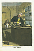 Shoe Maker  Master craftsman in tailored coat and yellow waistcoat (vest) cuts leather from skin. In background boy apprentice in apron and drab jacket sits making up a shoe  Hand-coloured woodcut from 'The Book of English Trades' London 1823