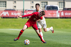 LIVERPOOL, ENGLAND - Wednesday, September 15, 2021: Liverpool's Luke Chambers (L) and AC Milan's Antonio Gala during the UEFA Youth League Group B Matchday 1 game between Liverpool FC Under19's and AC Milan Under 19's at the Liverpool Academy. Liverpool won 1-0. (Pic by David Rawcliffe/Propaganda)