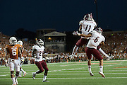 AUSTIN, TX - AUGUST 31: Jordan Bergstrom #11 and Joshua Bowen #6 of the New Mexico State Aggies celebrate a touchdown against the Texas Longhorns on August 31, 2013 at Darrell K Royal-Texas Memorial Stadium in Austin, Texas.  (Photo by Cooper Neill/Getty Images) *** Local Caption *** Jordan Bergstrom; Joshua Bowen