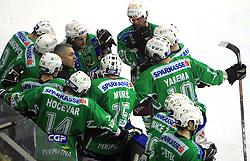 Coach of Olimpija Randy Edmonds with his team at 39th Round of EBEL League ice hockey match between HDD Tilia Olimpija and HK Acroni Jesenice, on December 30, 2008, in Arena Tivoli, Ljubljana, Slovenia. Tilia Olimpija won 4:3. (Photo by Vid Ponikvar / SportIda).