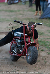 Michael Glaze jumping a minibike in the downtown campground set up for the Run to Raton. Raton, NM. USA. Saturday July 21, 2018. Photography ©2018 Michael Lichter.
