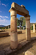 The 1st cent B.C Terrace Temple dedicated to Zeus Soteros  and round sanctuary dating back to the 5th cent B.C and dedicated to the god King Basileus Kaunios, the son of Apollo's son Miletos and the water nymph Kyanee, . Archaeological site of  Kaunos (Caunos), Dalyan Turkey.<br /> <br /> If you prefer to buy from our ALAMY PHOTO LIBRARY  Collection visit : https://www.alamy.com/portfolio/paul-williams-funkystock/dalyan-lycian-tombs-and-kaunos.html<br /> <br /> Visit our TURKEY PHOTO COLLECTIONS for more photos to download or buy as wall art prints https://funkystock.photoshelter.com/gallery-collection/3f-Pictures-of-Turkey-Turkey-Photos-Images-Fotos/C0000U.hJWkZxAbg