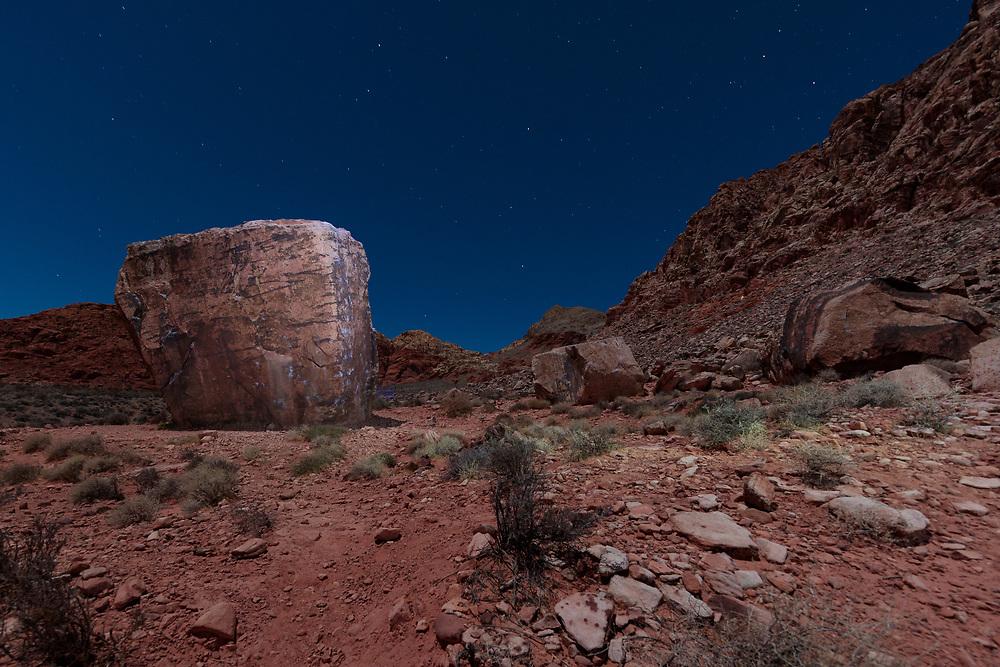 Sugar Cube Boulder during a Super Moon- Kraft Boulders - Calico Basin, Las Vegas, NV