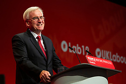 © Hugo Michiels Photography. 23/09/2019. Brighton, UK. Shadow Chancellor of the Exchequer and MP for Hayes and Harlington JOHN MCDONNELL speaks at the 2019 Labour Party Conference in Brighton and Hove. Photo credit: Hugo Michiels