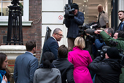 © Licensed to London News Pictures. 08/01/2018. London, UK. New Deputy Chairman of the Conservative Party JAMES CLEVERLY (left) speaking to media as he and other new cabinet members arrive at Conservative Party Headquarters in Westminster, London following a cabinet reshuffle by Prime Minister THERESA MAY. A number of senior moves are expected ahead of a new phase in Brexit negotiations and following the recent loss of Damian Green as First Secretary of State. Photo credit: Ben Cawthra/LNP