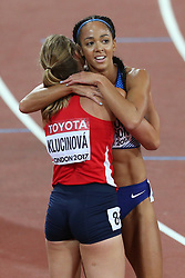 Great Britain's Katarina Johnson-Thompson reacts after the 800m heptathlon event during day three of the 2017 IAAF World Championships at the London Stadium.