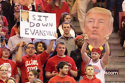 15 January 2016: The Donald (Trump) is in the house during the Illinois State Redbirds v Evansville Purple Aces at Redbird Arena in Normal Illinois (Photo by Alan Look)