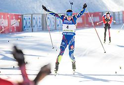 Quentin Fillon Maillet (FRA) celebrates at finish line  during Men 15 km Mass Start at day 4 of IBU Biathlon World Cup 2015/16 Pokljuka, on December 20, 2015 in Rudno polje, Pokljuka, Slovenia. Photo by Vid Ponikvar / Sportida