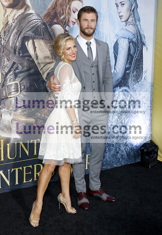 Chris Hemsworth and Elsa Pataky at the Los Angeles premiere of 'The Huntsman: Winter's War' held at the Regency Village Theatre in Westwood, USA on April 11, 2016.