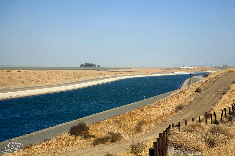The California Aqueduct is a 444 mile aqueduct that carries water from Northern California to Southern California, Merced County, California, USA