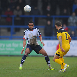 TELFORD COPYRIGHT MIKE SHERIDAN 19/1/2019 - Brendon Daniels of AFC Telford closes down Lee Vaughan during the Vanarama Conference North fixture between AFC Telford United and Kidderminster Harriers