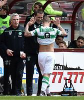 30/04/16 LADBROKES PREMIERSHIP<br /> HEARTS v CELTIC<br /> TYNECASTLE - EDINBURGH<br /> Celtic striker Leigh Griffiths celebrates with manager Ronny Deila