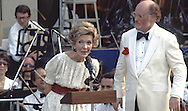 First Lady Nancy Reagan at the Boston Pops 100th Birthday Celebration on the South Lawn of the White House in May 1985.  This was at a time when President Reagan at recovering at Bethesda Naval Hospital ..Photo by Dennis Brack BSB 18