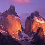 The Horns (las Cuernos) at sunrise in Torres del Paine National Park, Patagonia, Chile.