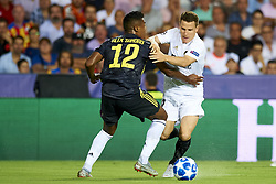 September 19, 2018 - Valencia, Spain - Denis Cheryshev, Alex Sandro (L) competes for the ball during the Group H match of the UEFA Champions League between Valencia CF and Juventus at Mestalla Stadium on September 19, 2018 in Valencia, Spain. (Credit Image: © Jose Breton/NurPhoto/ZUMA Press)