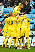 Photo: Ed Godden.<br />Coventry City v Sheffield Wednesday. Coca Cola Championship. 18/11/2006. Sheffield Wednesday players celebrate Chris Brunt's goal.