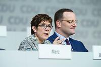 07 DEC 2018, HAMBURG/GERMANY:<br /> Annegret Kramp-Karrenbauer (L), CDU Generalsekretaerin, und Jens Spahn (R), CDU, Bundesgesundheitsminister, beantworten als Kandidaten fuer das Amt des Parteivorsitzenden Fragen der Delegierten, CDU Bundesparteitag, Messe Hamburg<br /> IMAGE: 20181207-01-146<br /> KEYWORDS: party congress