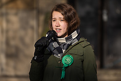London, UK. 30 November, 2019. Jacqueline Bond, Green Party candidate, speaks at a general election hustings for the Vauxhall constituency outside St Mark's church. Topics discussed included the lack of social housing provision, knife crime, the suitability of the candidates to be Prime Minister and airport expansion.