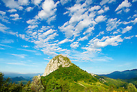 France. Ariege. Chateau de Montsegur. Chateau Cathare. //  France. Ariege. Montsegur Castle. Cathare castle.