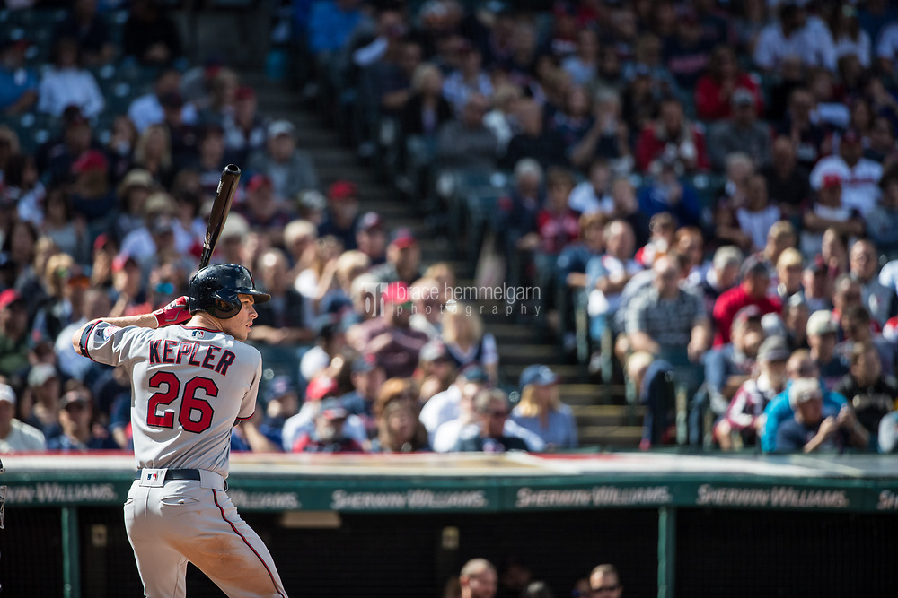 CLEVELAND, OH- SEPTEMBER 28: Max Kepler #26 of the Minnesota Twins bats against the Cleveland Indians on September 28, 2017 at Progressive Field in Cleveland, Ohio. The Indians defeated the Twins 5-2. (Photo by Brace Hemmelgarn) *** Local Caption *** Max Kepler
