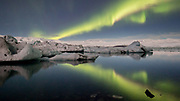 Northern lights over Jökulsárlón Lagoon, south-east Iceland