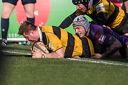 Newport's Nick Boyce scores his sides first try - Mandatory by-line: Craig Thomas/Replay images - 04/02/2018 - RUGBY - Rodney Parade - Newport, Wales - Newport v Ebbw Vale - Principality Premiership