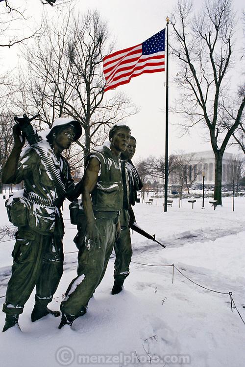 Vietnam War Memorial after a snowstorm. Washington, DC. USA.