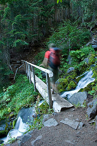 Young man hiking along the Wonderland Trail in Mount Rainier National Park, WA