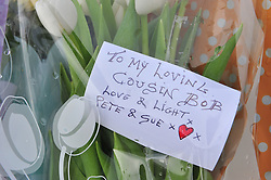 © Licensed to London News Pictures. 15/11/2016<br /> Floral tributes left near the scene of a tram derailment at Sandilands Station in Croydon. Tomorrow marks one week since the crash in which seven people were killed and more than 50 people were injured when the carriages flipped over. Photo credit :Grant Falvey/LNP