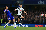 Son Heung-Min of Tottenham Hotspur goes past Nemanja Matic of Chelsea. Barclays Premier league match, Chelsea v Tottenham Hotspur at Stamford Bridge in London on Monday 2nd May 2016.<br /> pic by Andrew Orchard, Andrew Orchard sports photography.