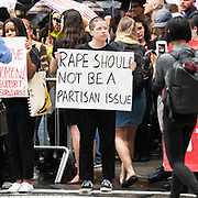 Protest, against the confirmation of Brett Kavanaugh as a Supreme Court Justice, taking place on Fifth Avenue starting at Trump Tower at 56th Street and heading south along Fifth Avenue in New York City, New York on October 4, 2018