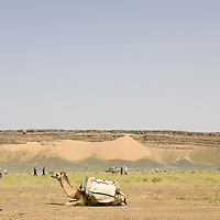 24 March 2007: Runners warms up the day before the beginning of the 22nd Marathon des Sables, a 6 days and 151 miles endurance race with food self sufficiency across the Sahara Desert in Morocco. Each participant must carry his, or her, own backpack containing food, sleeping gear and other material.