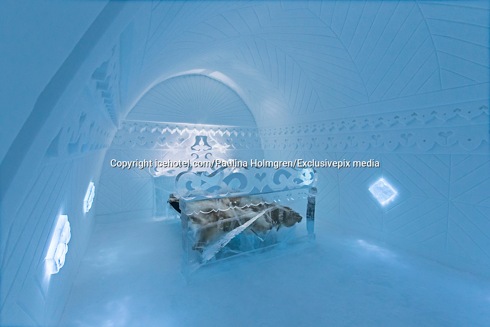 Ice Hotel amazing suites entirely made of ice and snow<br /> <br /> ICE HOTEL, 19 individually themed and hand crafted art suites have been newly designed by creatives from across the world – from a swedish artist who made a giant snow elephant in the room, to a french team who fused snow, ice and disco into a groovy sleeping experience. each year, the hotel creates a new series of artist-designed accommodation spaces that add to the existing landscape of  private rooms.<br /> <br /> the amount of snow used to create its more than 50 bedrooms, church and a bar would make 700 million snowballs, while the chandeliers alone are made from 1,000 hand cut ice crystals. thematically, this year's edition features flocks of animals from elephants to peacocks, patterns drawn from nature, architecturally-motivated designs and theater-inspired schemes.<br /> ©icehotel.com/Paulina Holmgren/Exclusivepix media