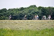 Nederland, Beuningen, 8-6-2014 Recreatie langs de rivier de Waal en de waterkant. Recreanten, fietsers, op de dijk langs de Waal.Foto: Flip Franssen/Hollandse Hoogte