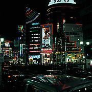 Japan, Cities, Downtown Tokyo at night.