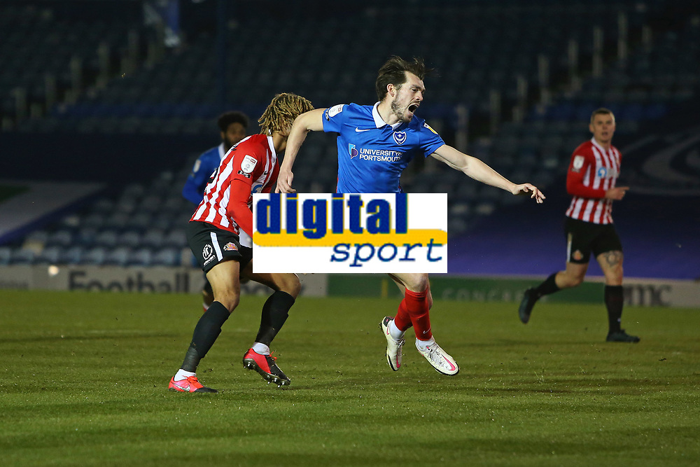 Football - 2020 / 2021 Sky Bet League One - Portsmouth vs. Sunderland - Fratton Park<br /> <br /> Portsmouth's John Marquis appeals for a penalty after supposedly being fouled by Dion Sanderson of Sunderland during the League One fixture at Fratton Park <br /> <br /> COLORSPORT/SHAUN BOGGUST