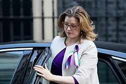 © Licensed to London News Pictures. 06/02/2018. London, UK. International Development Secretary Penny Mordaunt arriving in Downing Street to attend a Cabinet meeting this morning. Mordaunt is wearing a symbolic green and purple ribbon, as today is the 100th anniversary of women's right to vote. Photo credit : Tom Nicholson/LNP