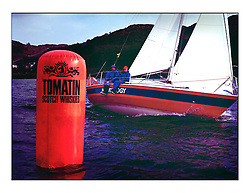 The Clyde Cruising Club's 1977 Tomatin Trophy the first Scottish Series held at Tarbert Loch Fyne.  An overnight race from Gourock to Campbeltown then on to Olympic Triangles in Loch Fyne. ..Branded Tomatin Mark with K5526 Hydrology, F. Olsens Hydro...
