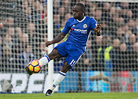 Football - 2016 / 2017 Premier League - Chelsea vs. Stoke City <br /> <br /> Victor Moses of Chelsea with a clearance at Stamford Bridge.<br /> <br /> COLORSPORT/DANIEL BEARHAM