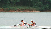 Atlanta, USA,   GBR M2- Gold Medallist Bow, Steve REDGRAVE and Matthew PINSENT, on the awards dock after wiining the final at the 1996, Olympic Rowing Regatta at Lake Lanier, Gainsville Georgia,  [Photo Peter Spurrier/Intersport Images]