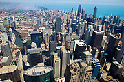 Aerial view of Chicago IL as seen from the Willis tower (formerly Sears tower) observation deck.